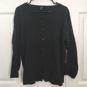 Eileen Fisher Charcoal Textured Button Down Blouse